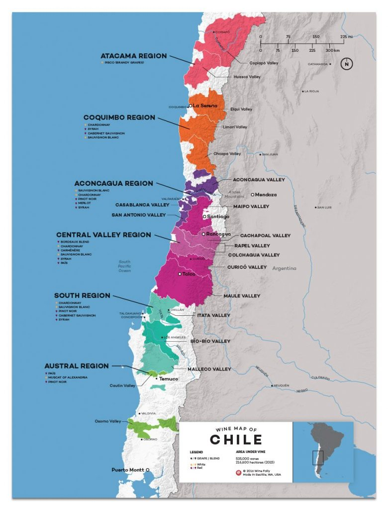 Bản đồ vùng rượu vang Chile