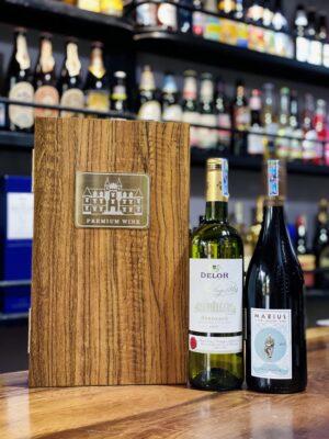 Hộp quà 2 chai vang Pháp Delor Marius
